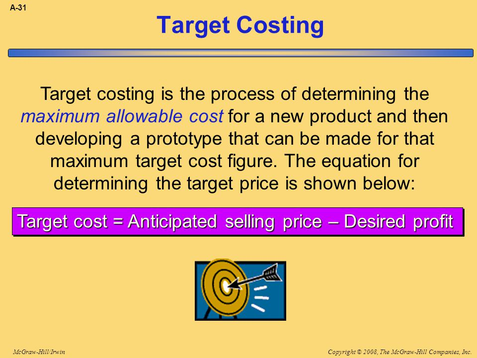 Copyright © 2008, The McGraw-Hill Companies, Inc.McGraw-Hill/Irwin A-31 Target Costing Target costing is the process of determining the maximum allowa