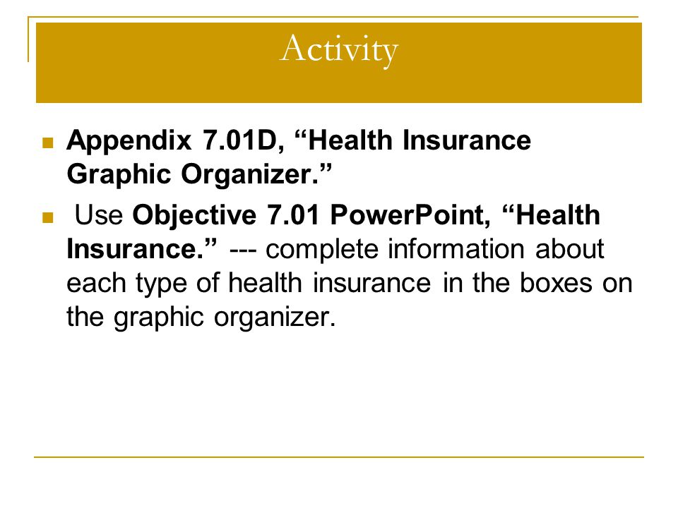 "Activity Appendix 7.01D, ""Health Insurance Graphic Organizer."" Use Objective 7.01 PowerPoint, ""Health Insurance."" --- complete information about each"