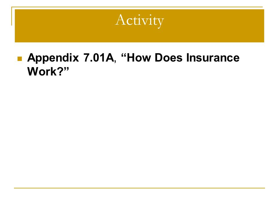 "Activity Appendix 7.01A, ""How Does Insurance Work?"""