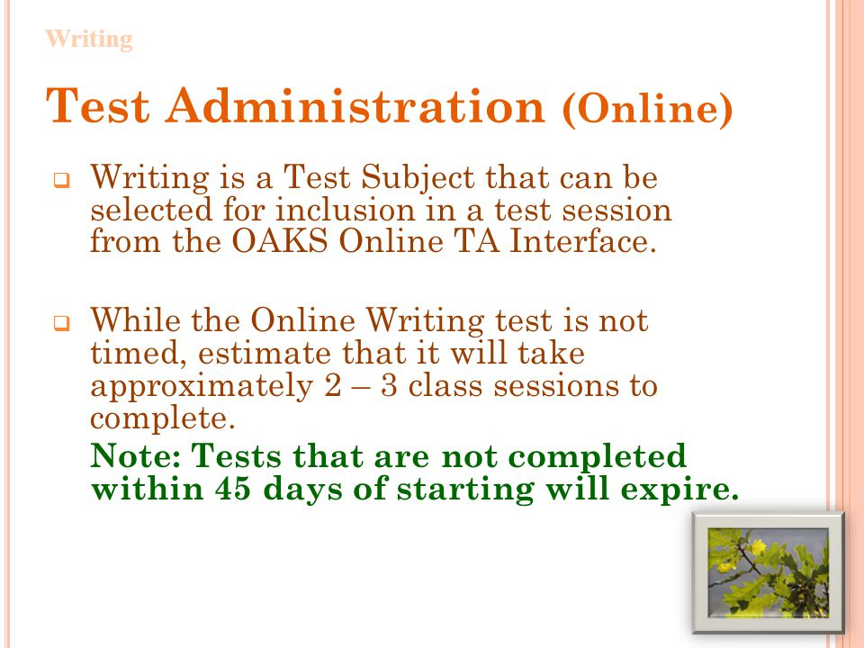 Test Administration (Online), cont'd  Students can either create and revise their drafts in the Student Response screen or print their selected prompt and create and revise their drafts on paper, entering their final draft in the Student Response Screen.