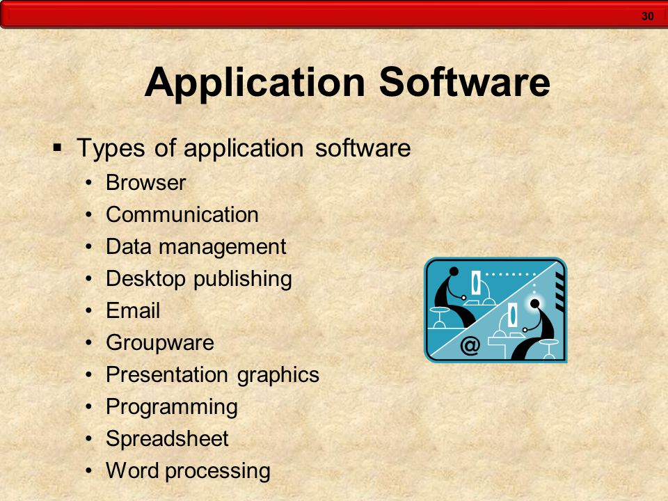 30 Application Software  Types of application software Browser Communication Data management Desktop publishing Email Groupware Presentation graphics Programming Spreadsheet Word processing