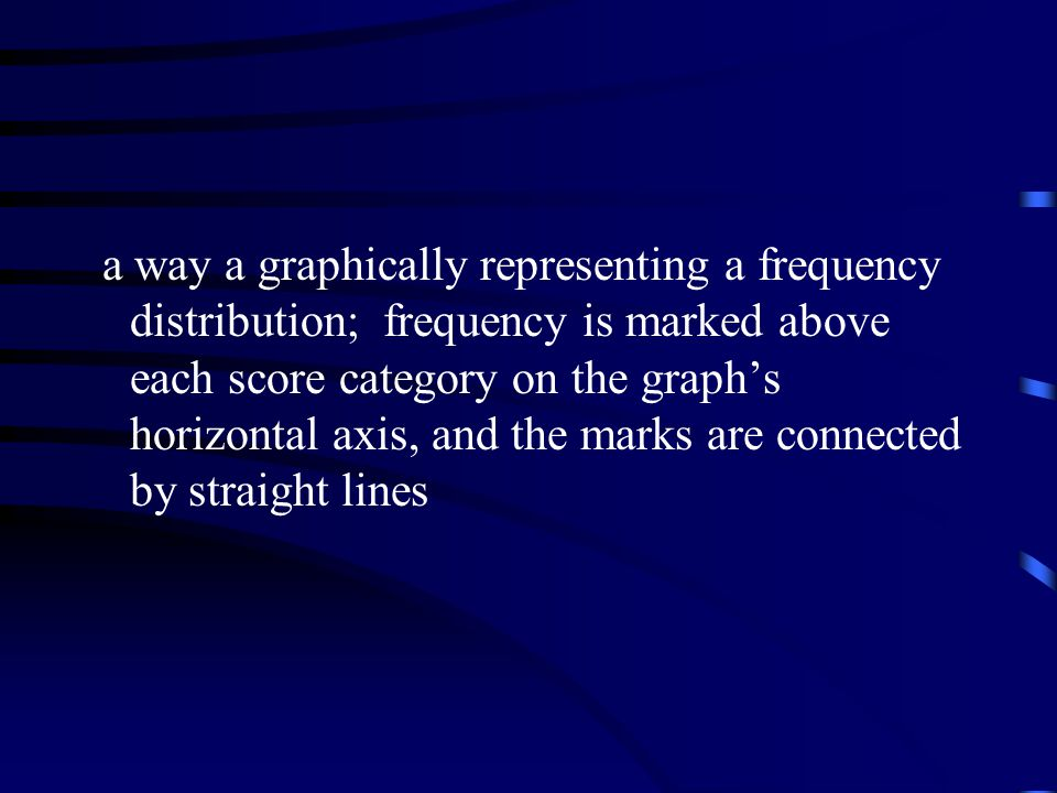 a way a graphically representing a frequency distribution; frequency is marked above each score category on the graph's horizontal axis, and the marks are connected by straight lines