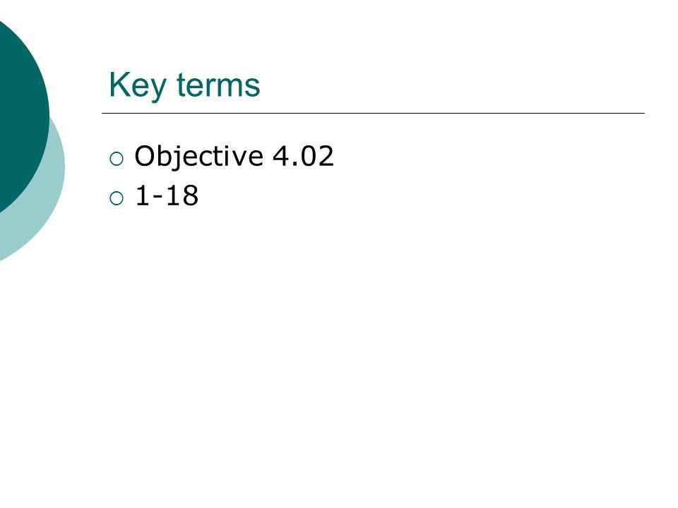 Key terms  Objective 4.02  1-18