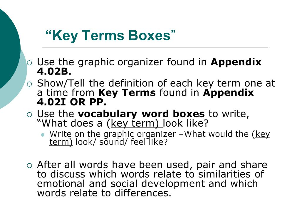 """""""Key Terms Boxes""""  Use the graphic organizer found in Appendix 4.02B.  Show/Tell the definition of each key term one at a time from Key Terms found"""