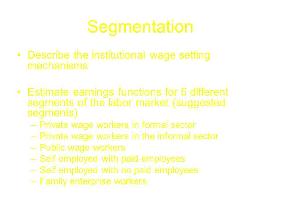 Segmentation Describe the institutional wage setting mechanisms Estimate earnings functions for 5 different segments of the labor market (suggested segments) –Private wage workers in formal sector –Private wage workers in the informal sector –Public wage workers –Self employed with paid employees –Self employed with no paid employees –Family enterprise workers