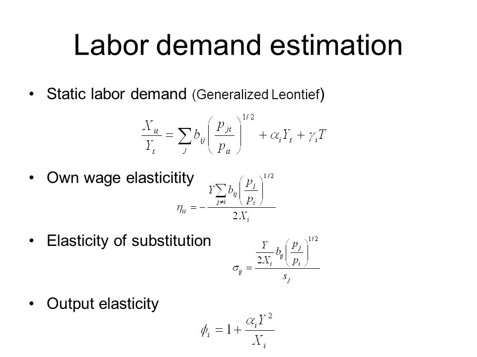 Labor demand estimation Static labor demand (Generalized Leontief ) Own wage elasticitity Elasticity of substitution Output elasticity