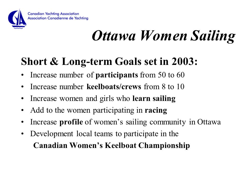 Ottawa Women Sailing Short & Long-term Goals set in 2003: Increase number of participants from 50 to 60 Increase number keelboats/crews from 8 to 10 Increase women and girls who learn sailing Add to the women participating in racing Increase profile of women's sailing community in Ottawa Development local teams to participate in the Canadian Women's Keelboat Championship