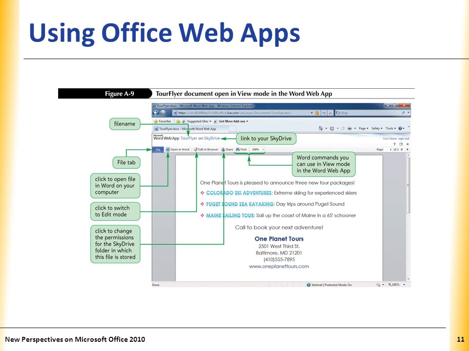 XP Using Office Web Apps New Perspectives on Microsoft Office 201011