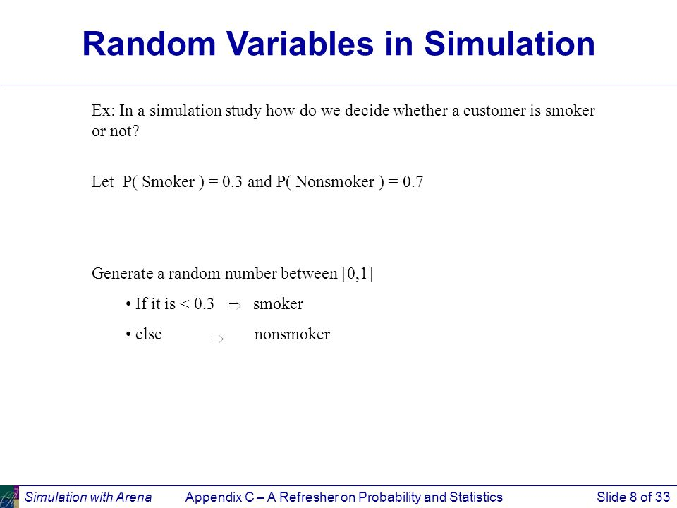 Simulation with ArenaAppendix C – A Refresher on Probability and StatisticsSlide 8 of 33 Ex: In a simulation study how do we decide whether a customer is smoker or not.