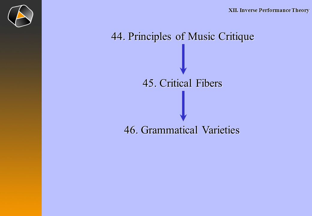 XII. Inverse Performance Theory 44. Principles of Music Critique 45.