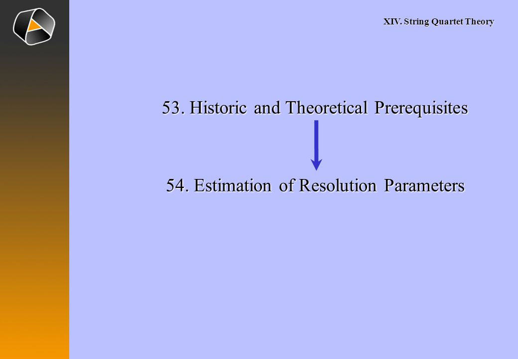 XIV. String Quartet Theory 53. Historic and Theoretical Prerequisites 54.