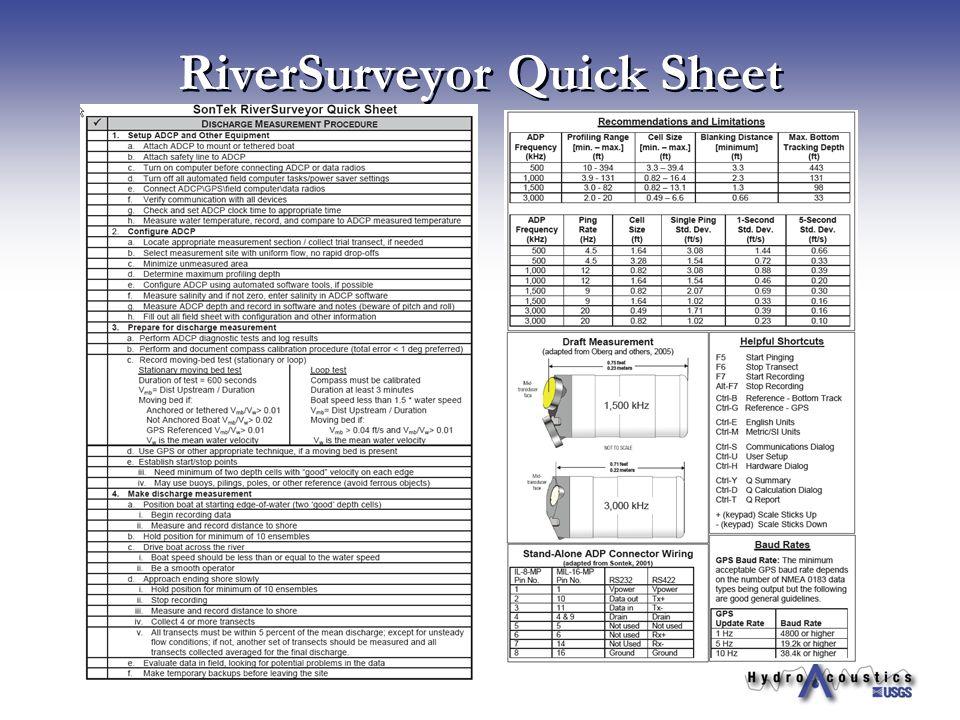 RiverSurveyor Quick Sheet
