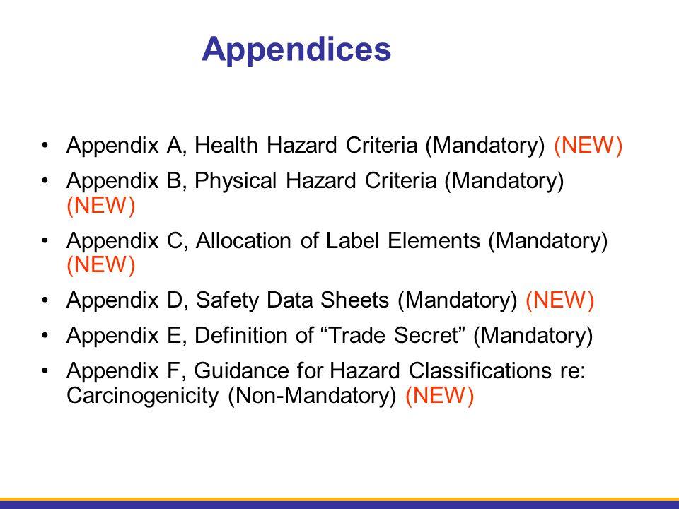 Appendices Appendix A, Health Hazard Criteria (Mandatory) (NEW) Appendix B, Physical Hazard Criteria (Mandatory) (NEW) Appendix C, Allocation of Label