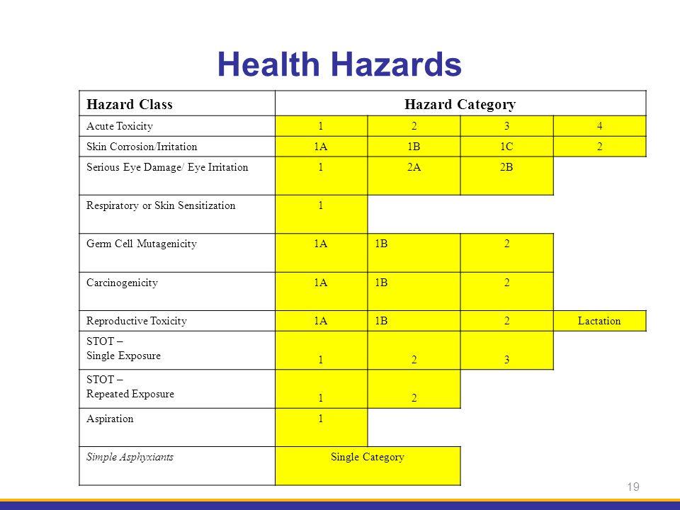 19 Hazard ClassHazard Category Acute Toxicity1234 Skin Corrosion/Irritation1A1B1C2 Serious Eye Damage/ Eye Irritation12A2B Respiratory or Skin Sensiti