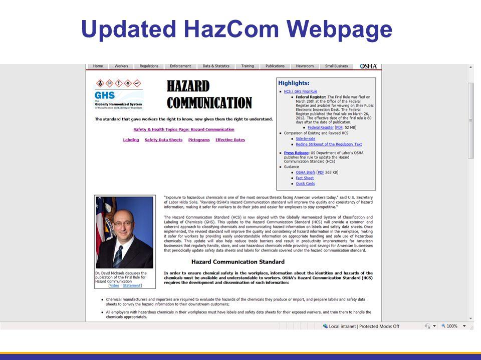Updated HazCom Webpage