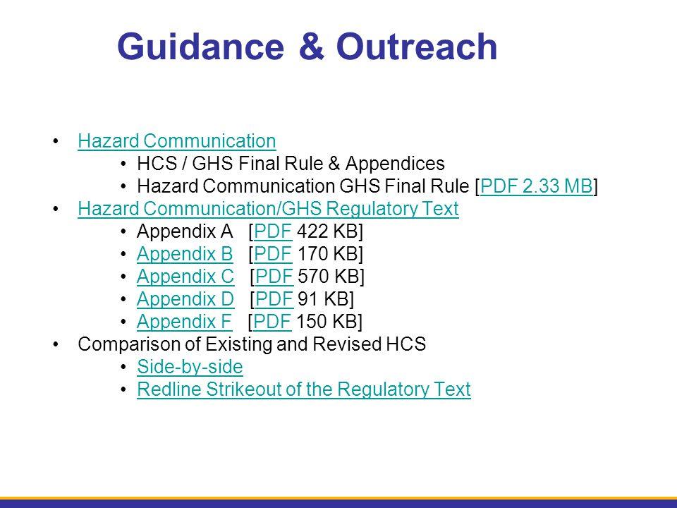 Hazard Communication HCS / GHS Final Rule & Appendices Hazard Communication GHS Final Rule [PDF 2.33 MB]PDF 2.33 MB Hazard Communication/GHS Regulator
