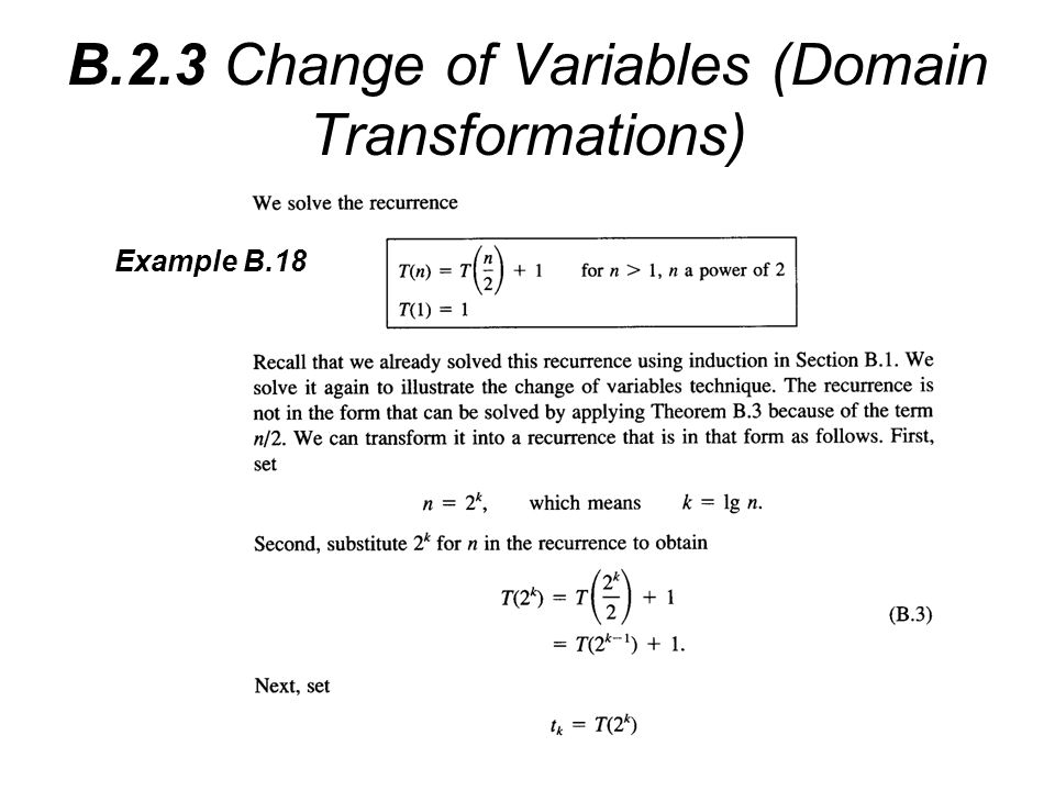 B.2.3 Change of Variables (Domain Transformations) Example B.18