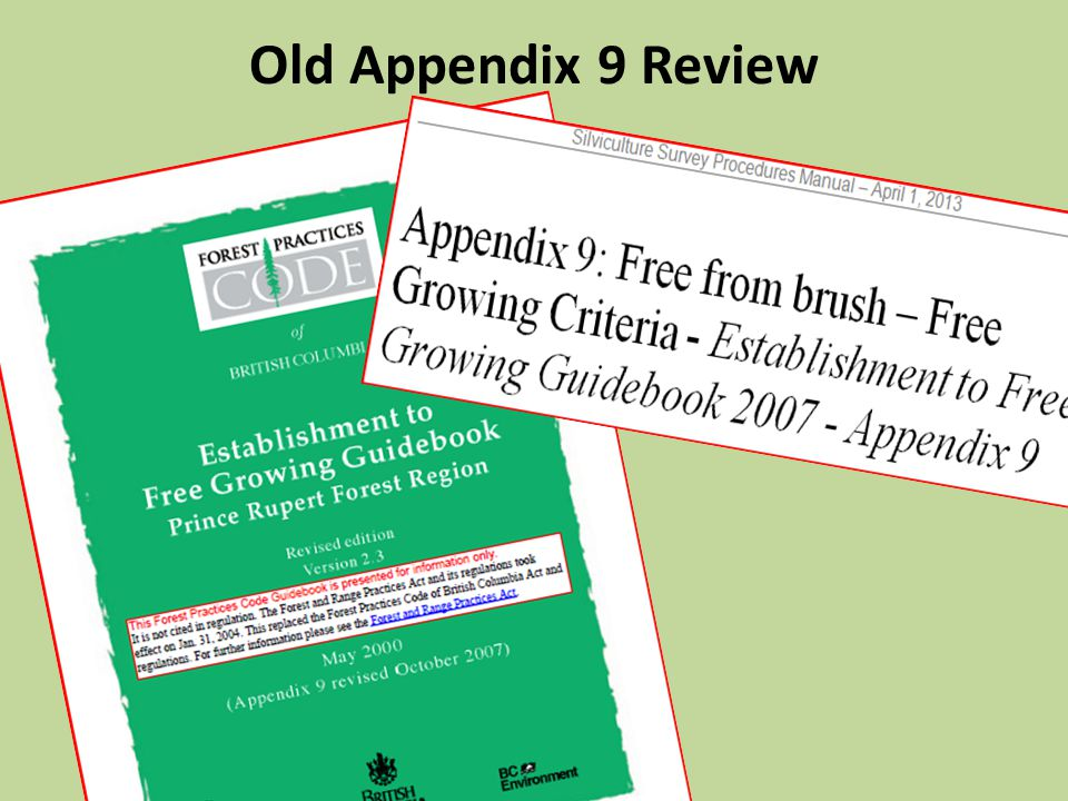 Old Appendix 9 Review