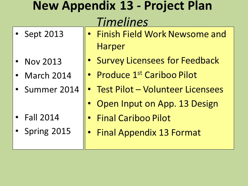 New Appendix 13 - Project Plan Timelines Sept 2013 Nov 2013 March 2014 Summer 2014 Fall 2014 Spring 2015 Finish Field Work Newsome and Harper Survey Licensees for Feedback Produce 1 st Cariboo Pilot Test Pilot – Volunteer Licensees Open Input on App.