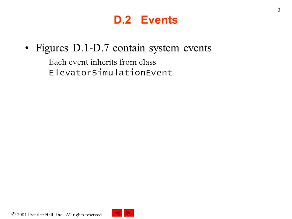  2001 Prentice Hall, Inc. All rights reserved. 3 D.2 Events Figures D.1-D.7 contain system events –Each event inherits from class ElevatorSimulationE