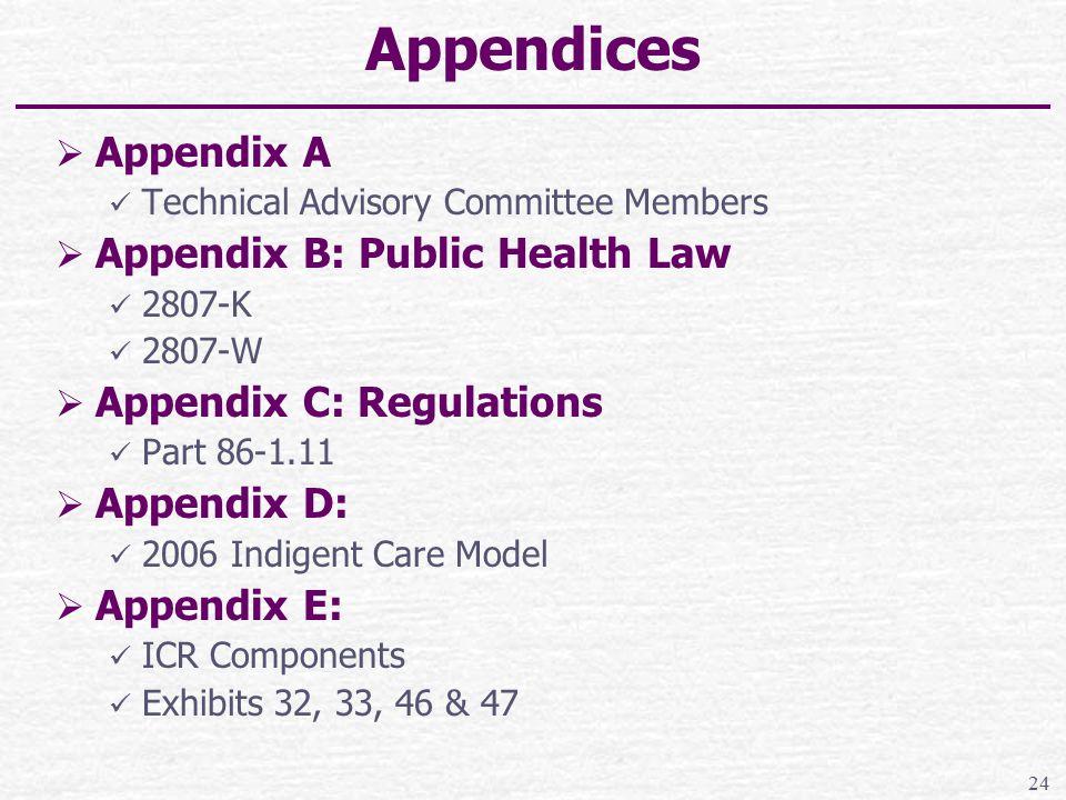 Appendices  Appendix A Technical Advisory Committee Members  Appendix B: Public Health Law 2807-K 2807-W  Appendix C: Regulations Part 86-1.11  Appendix D: 2006 Indigent Care Model  Appendix E: ICR Components Exhibits 32, 33, 46 & 47 24