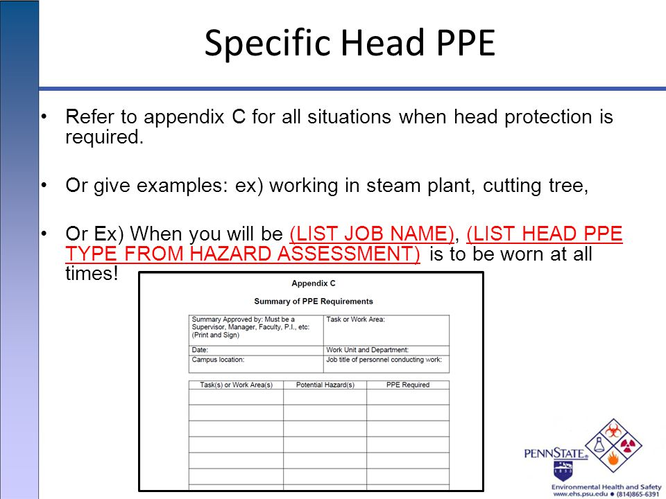 Specific Head PPE Refer to appendix C for all situations when head protection is required.