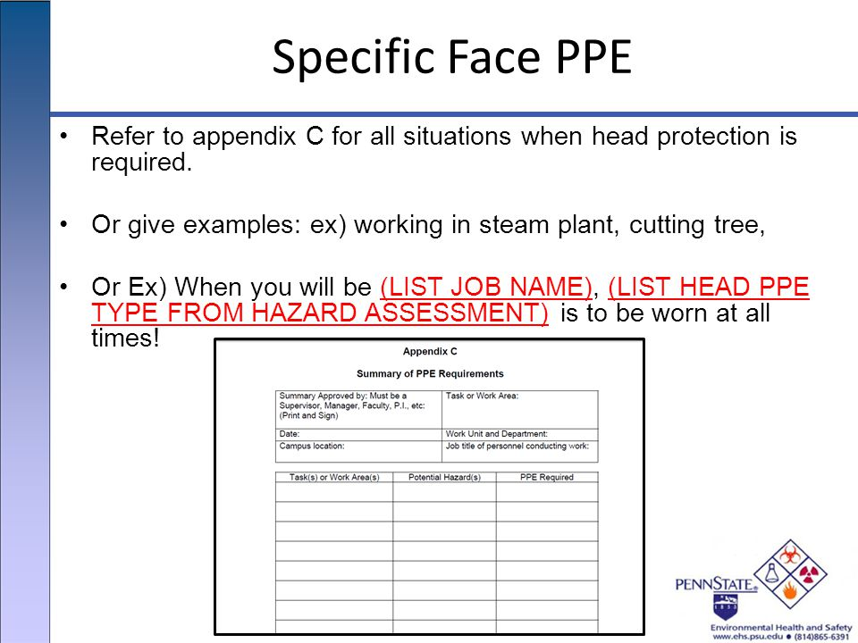 Specific Face PPE Refer to appendix C for all situations when head protection is required.