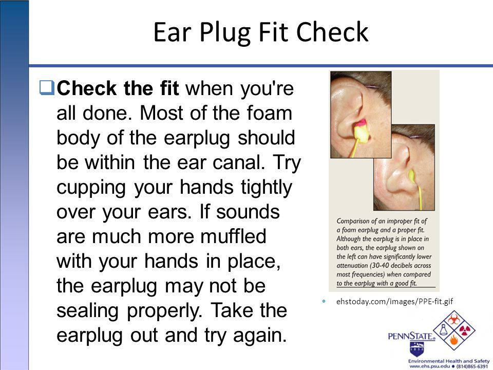 Ear Plug Fit Check  Check the fit when you re all done.