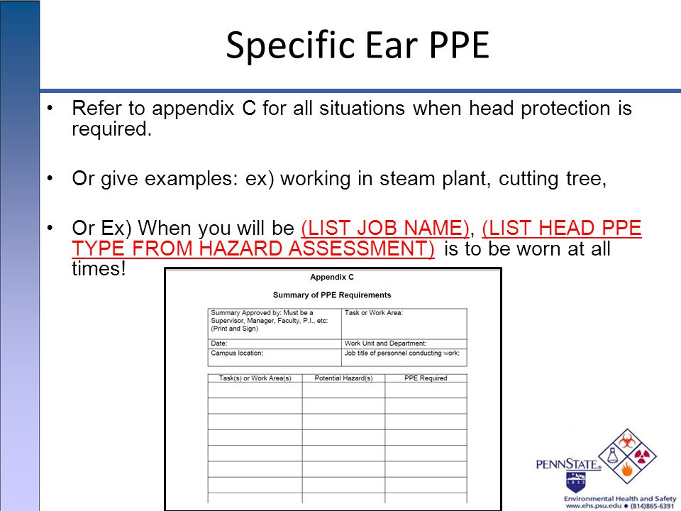 Specific Ear PPE Refer to appendix C for all situations when head protection is required.