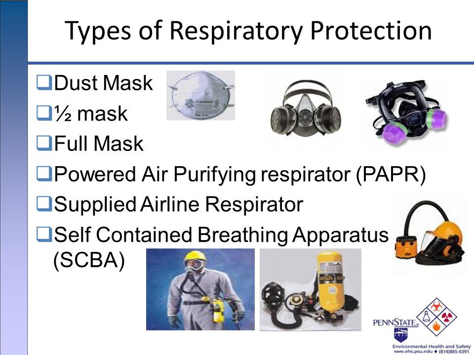Types of Respiratory Protection  Dust Mask  ½ mask  Full Mask  Powered Air Purifying respirator (PAPR)  Supplied Airline Respirator  Self Contained Breathing Apparatus (SCBA)