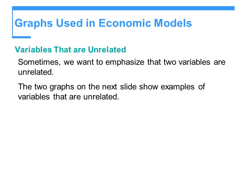 Variables That are Unrelated Sometimes, we want to emphasize that two variables are unrelated. The two graphs on the next slide show examples of varia