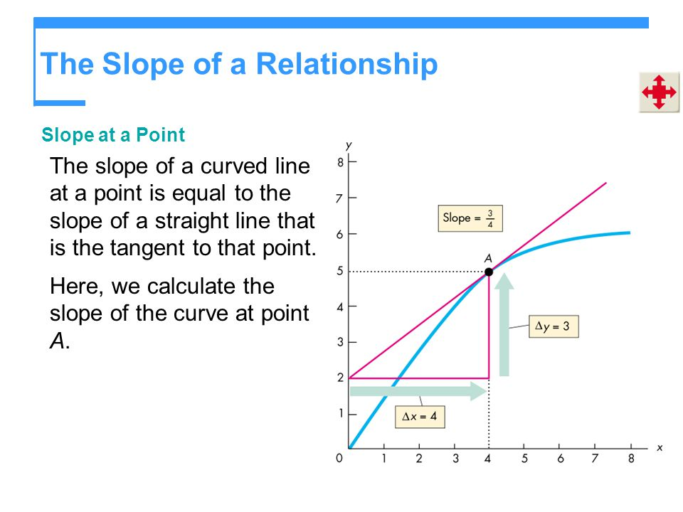 The Slope of a Relationship Slope at a Point The slope of a curved line at a point is equal to the slope of a straight line that is the tangent to tha