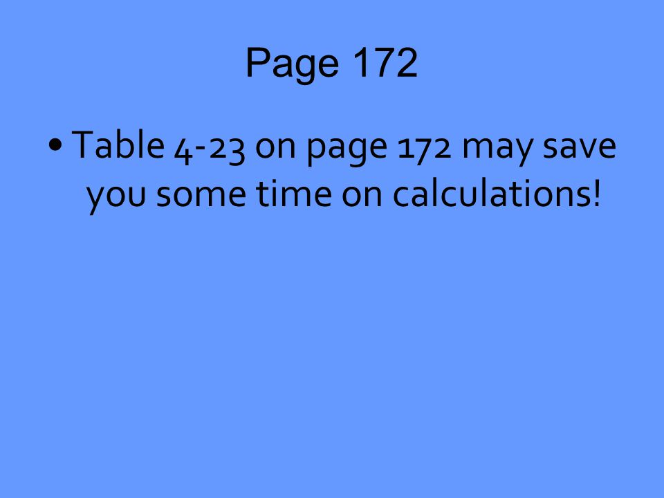 Page 172 Table 4-23 on page 172 may save you some time on calculations!
