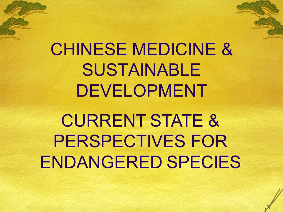 CHINESE MEDICINE & SUSTAINABLE DEVELOPMENT CURRENT STATE & PERSPECTIVES FOR ENDANGERED SPECIES