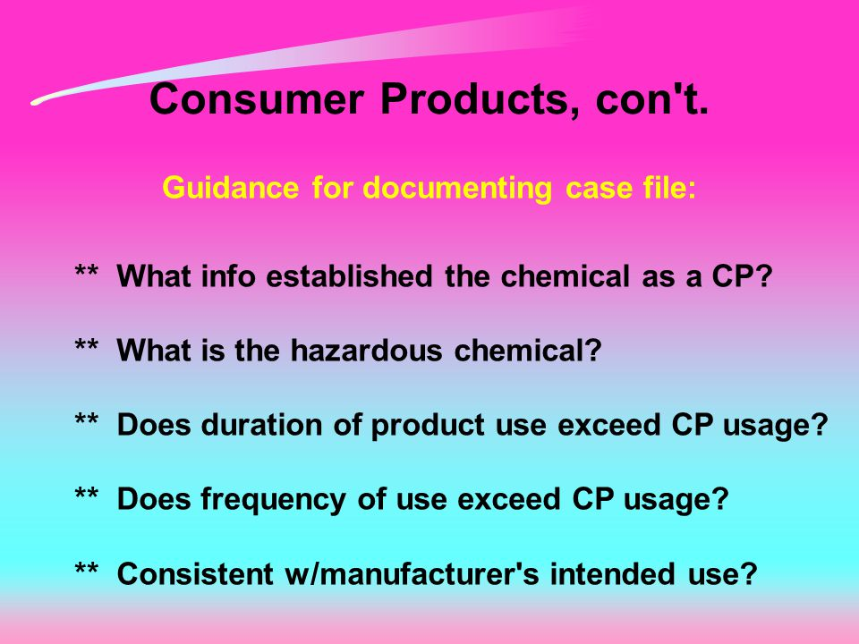 Consumer Products, con t.