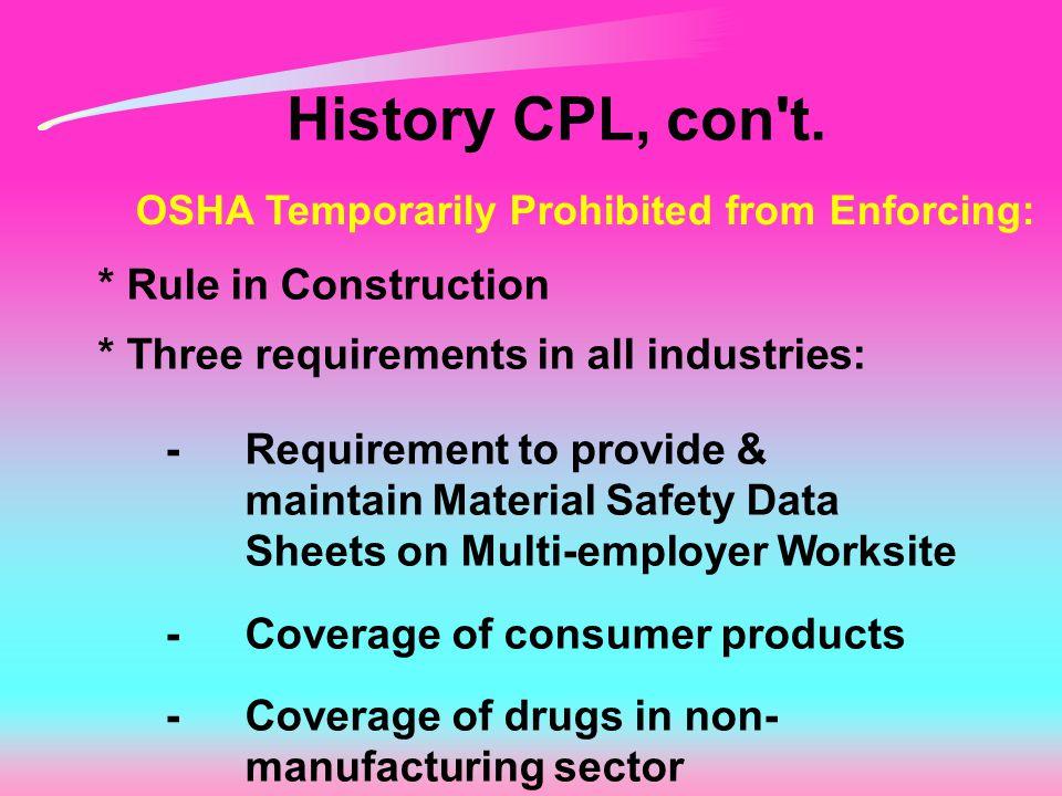 History CPL, con t.
