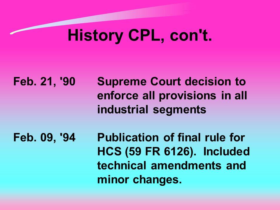 History CPL, con t. Feb.