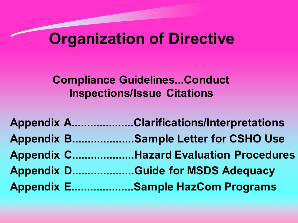 Organization of Directive Compliance Guidelines...Conduct Inspections/Issue Citations Appendix A....................Clarifications/Interpretations Appendix B....................Sample Letter for CSHO Use Appendix C....................Hazard Evaluation Procedures Appendix D....................Guide for MSDS Adequacy Appendix E....................Sample HazCom Programs