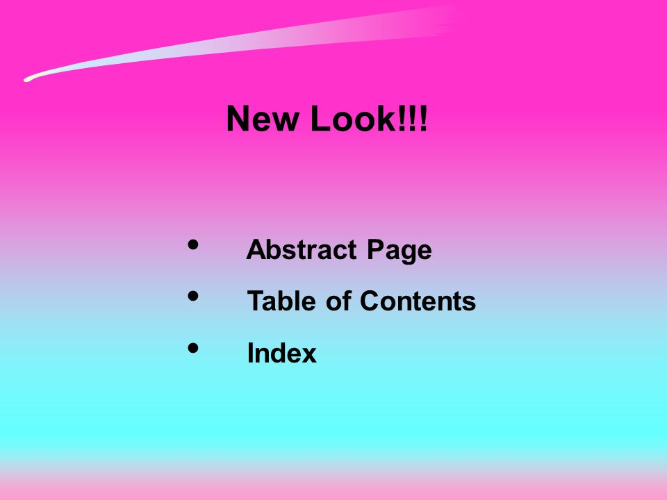 New Look!!! Abstract Page Table of Contents Index