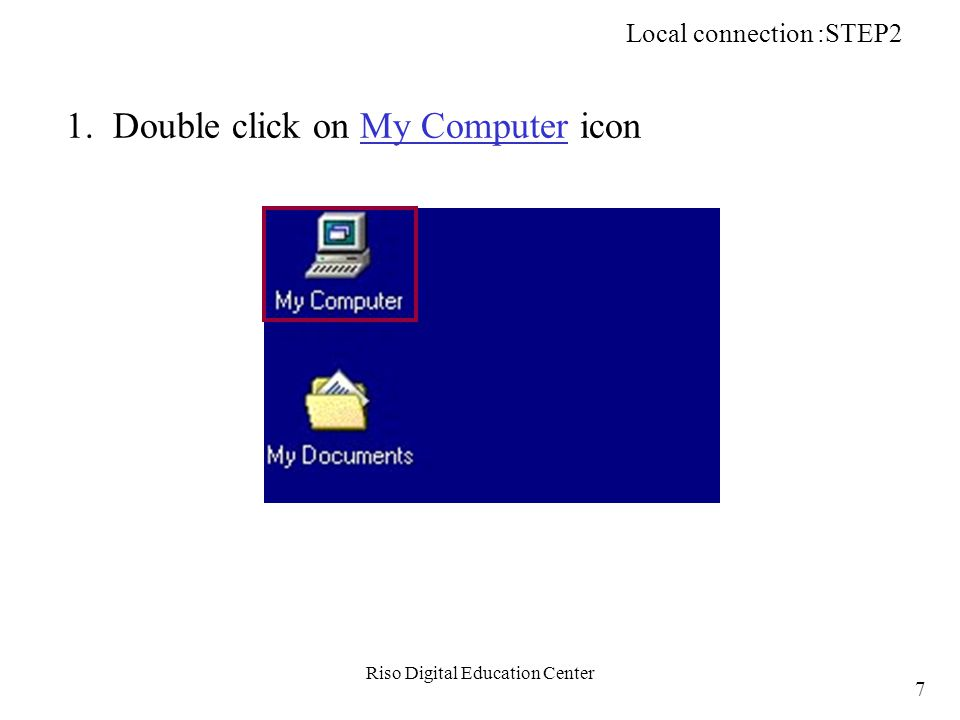Riso Digital Education Center 2. Double click on Printers icon Local connection :STEP2 8