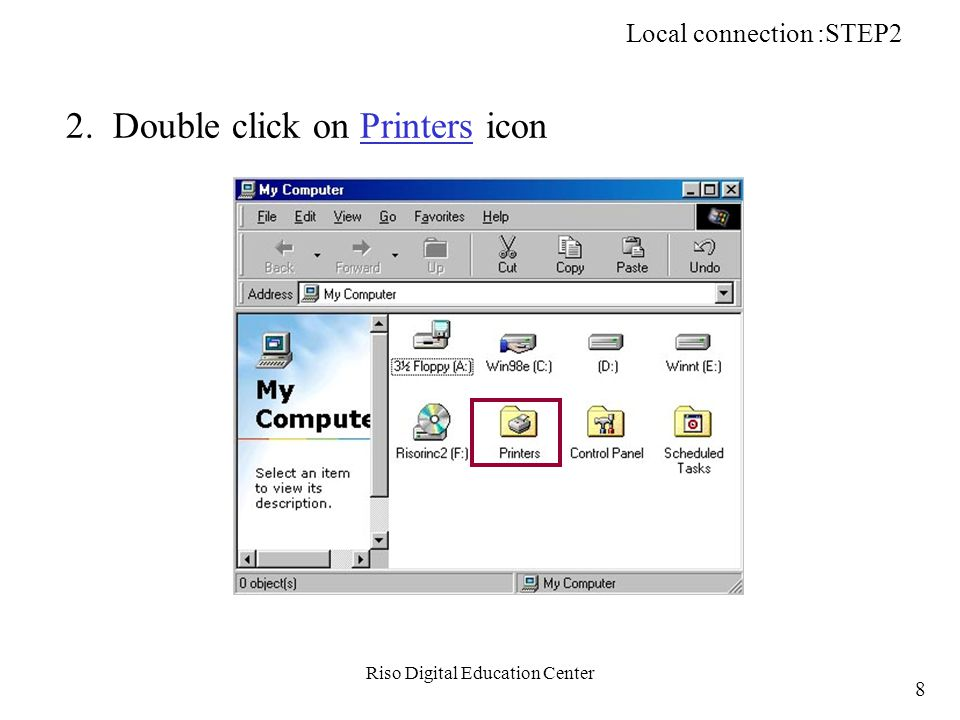 Riso Digital Education Center STEP5: Install a Printer Driver Win PC PC HUB h: Install Printer driver into the PC Network Printing (TCP/IP): STEP5 NET-B 139