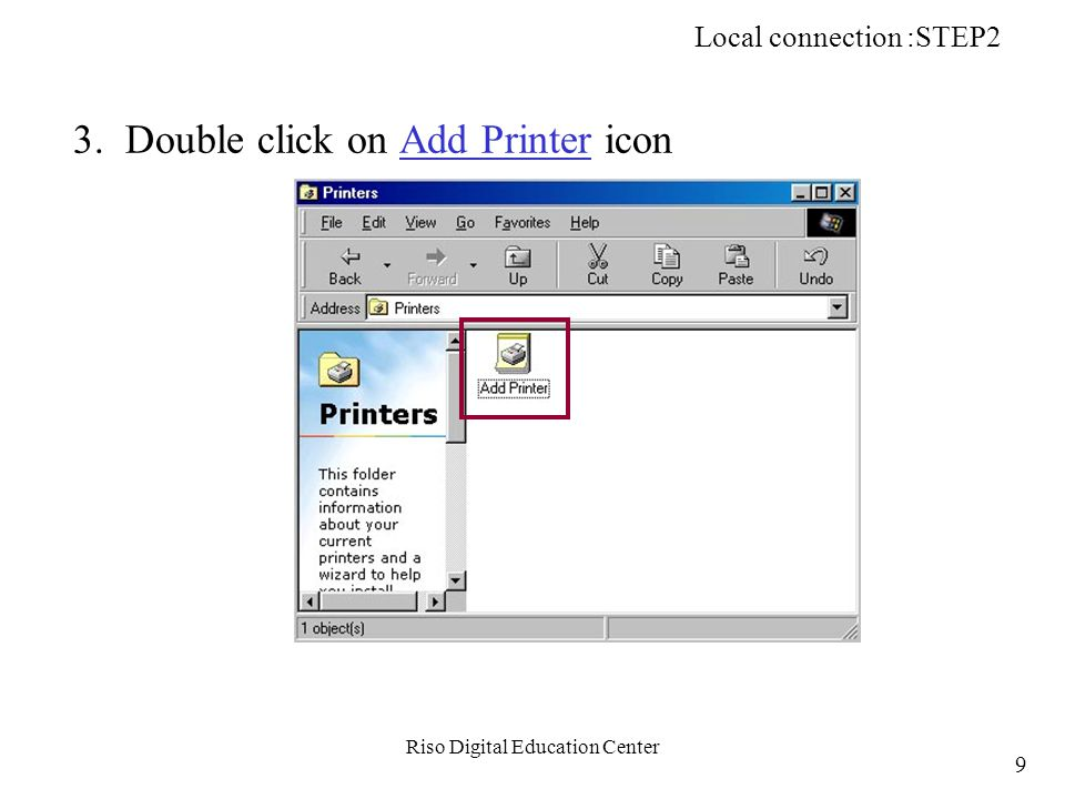 Riso Digital Education Center b-3. Double click on Setup icon. Network Printing (TCP/IP): STEP2 100