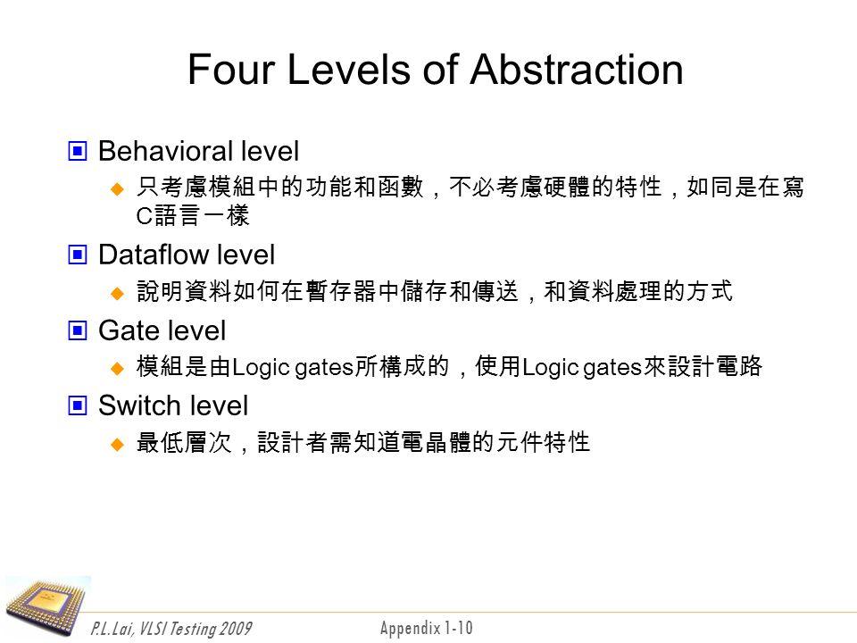 P.L.Lai, VLSI Testing 2009 Appendix 1-10 Four Levels of Abstraction Behavioral level  只考慮模組中的功能和函數,不必考慮硬體的特性,如同是在寫 C語言一樣 Dataflow level  說明資料如何在暫存器中儲存和傳送,和資料處理的方式 Gate level  模組是由Logic gates所構成的,使用Logic gates來設計電路 Switch level  最低層次,設計者需知道電晶體的元件特性