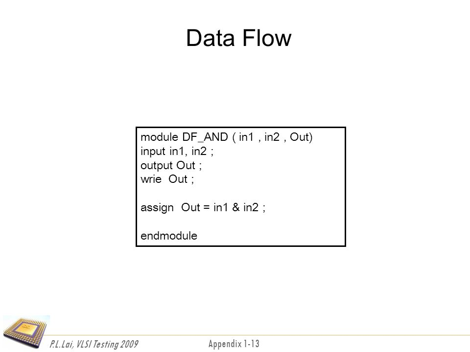 P.L.Lai, VLSI Testing 2009 Appendix 1-13 Data Flow module DF_AND ( in1, in2, Out) input in1, in2 ; output Out ; wrie Out ; assign Out = in1 & in2 ; endmodule