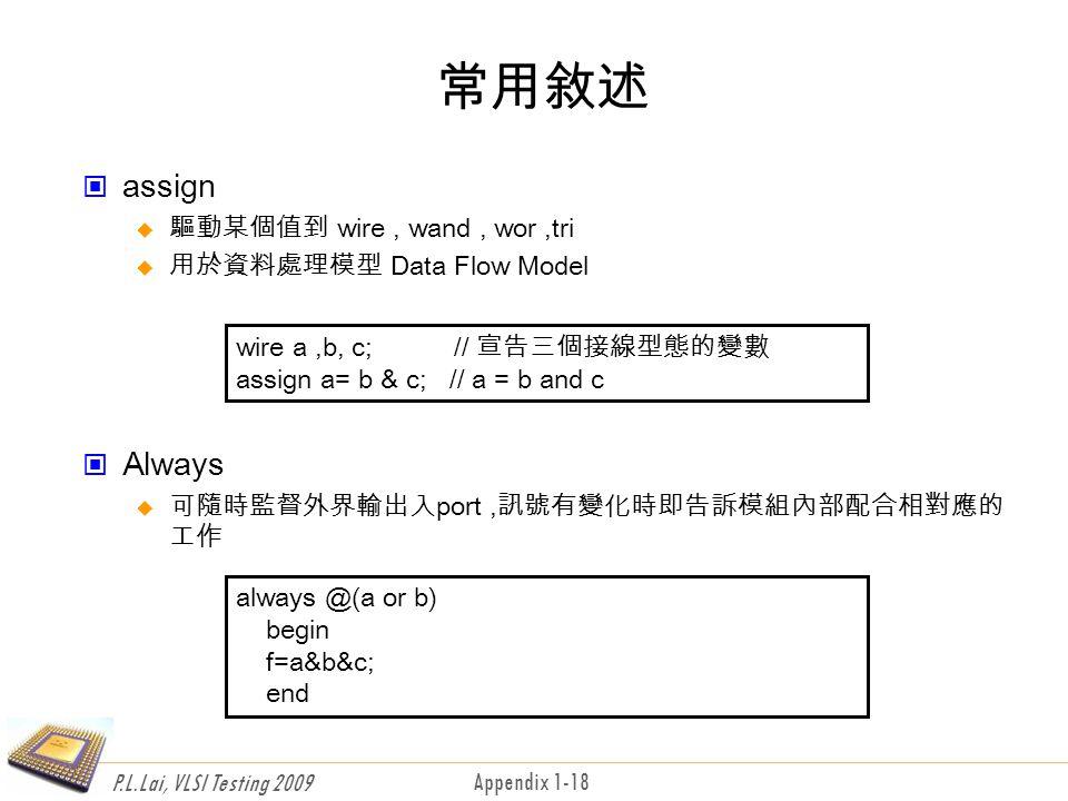 P.L.Lai, VLSI Testing 2009 Appendix 1-18 常用敘述 assign  驅動某個值到 wire, wand, wor,tri  用於資料處理模型 Data Flow Model Always  可隨時監督外界輸出入port,訊號有變化時即告訴模組內部配合相對應的 工作 wire a,b, c; // 宣告三個接線型態的變數 assign a= b & c; // a = b and c always @(a or b) begin f=a&b&c; end