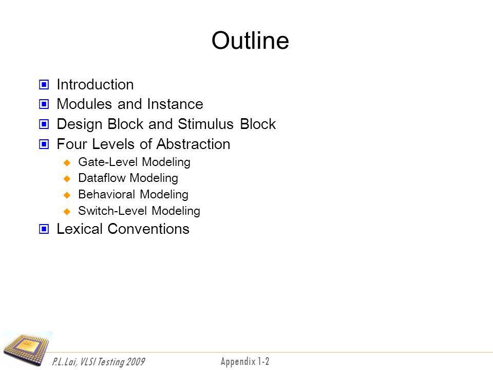 P.L.Lai, VLSI Testing 2009 Appendix 1-3 Introduction Hardware description language Mixed level modeling Single language for design and simulation Built-in primitives, logic function User-defined primitives Built-in data types High-level programming constructs