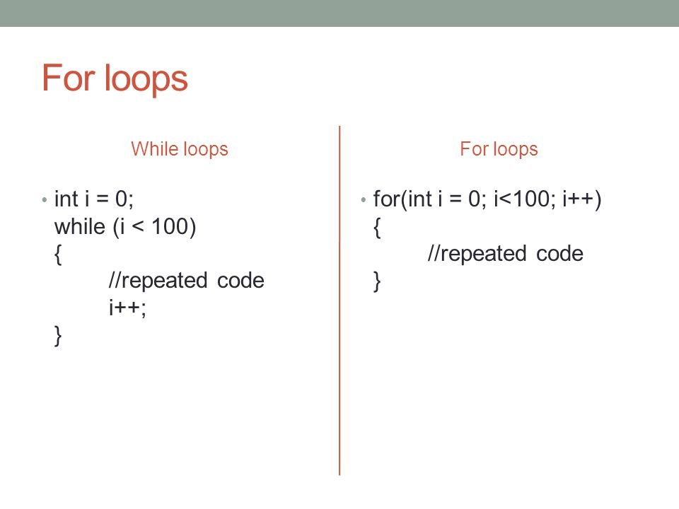 For loops While loops int i = 0; while (i < 100) { //repeated code i++; } For loops for(int i = 0; i<100; i++) { //repeated code }