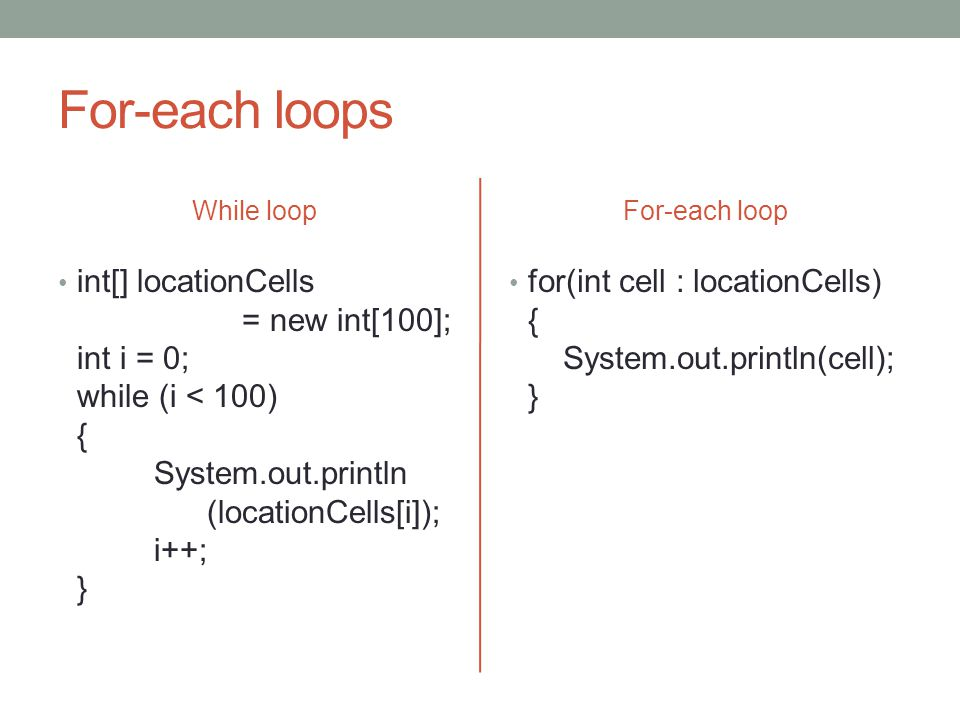 For-each loops While loop int[] locationCells = new int[100]; int i = 0; while (i < 100) { System.out.println (locationCells[i]); i++; } For-each loop for(int cell : locationCells) { System.out.println(cell); }