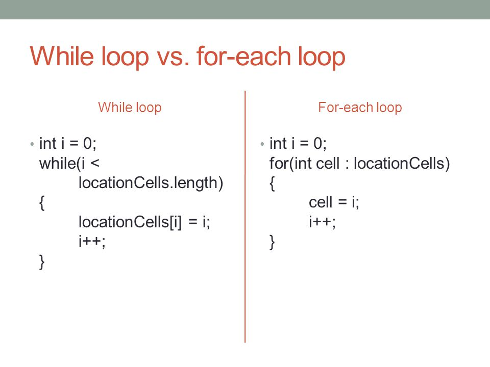 While loop vs.