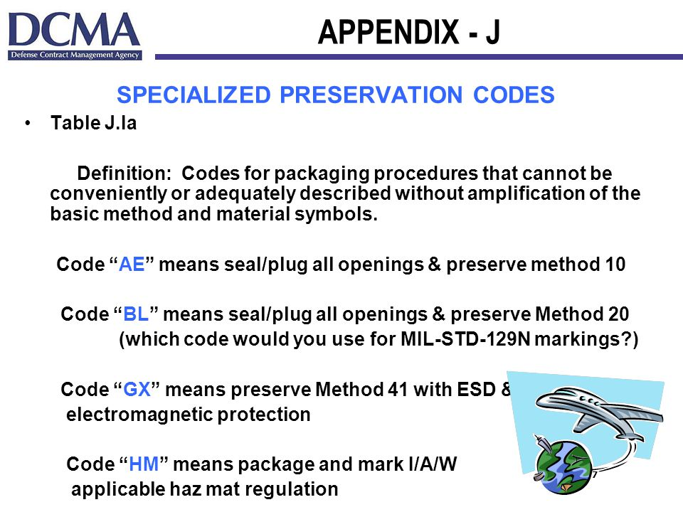 7 APPENDIX - J SPECIALIZED PRESERVATION CODES Table J.Ia Definition: Codes for packaging procedures that cannot be conveniently or adequately described without amplification of the basic method and material symbols.